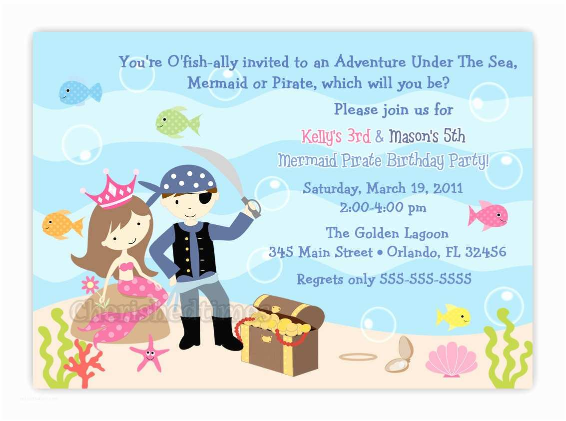 Digital Party Invitations Mermaid and Pirate Party Invitations Various Invitation