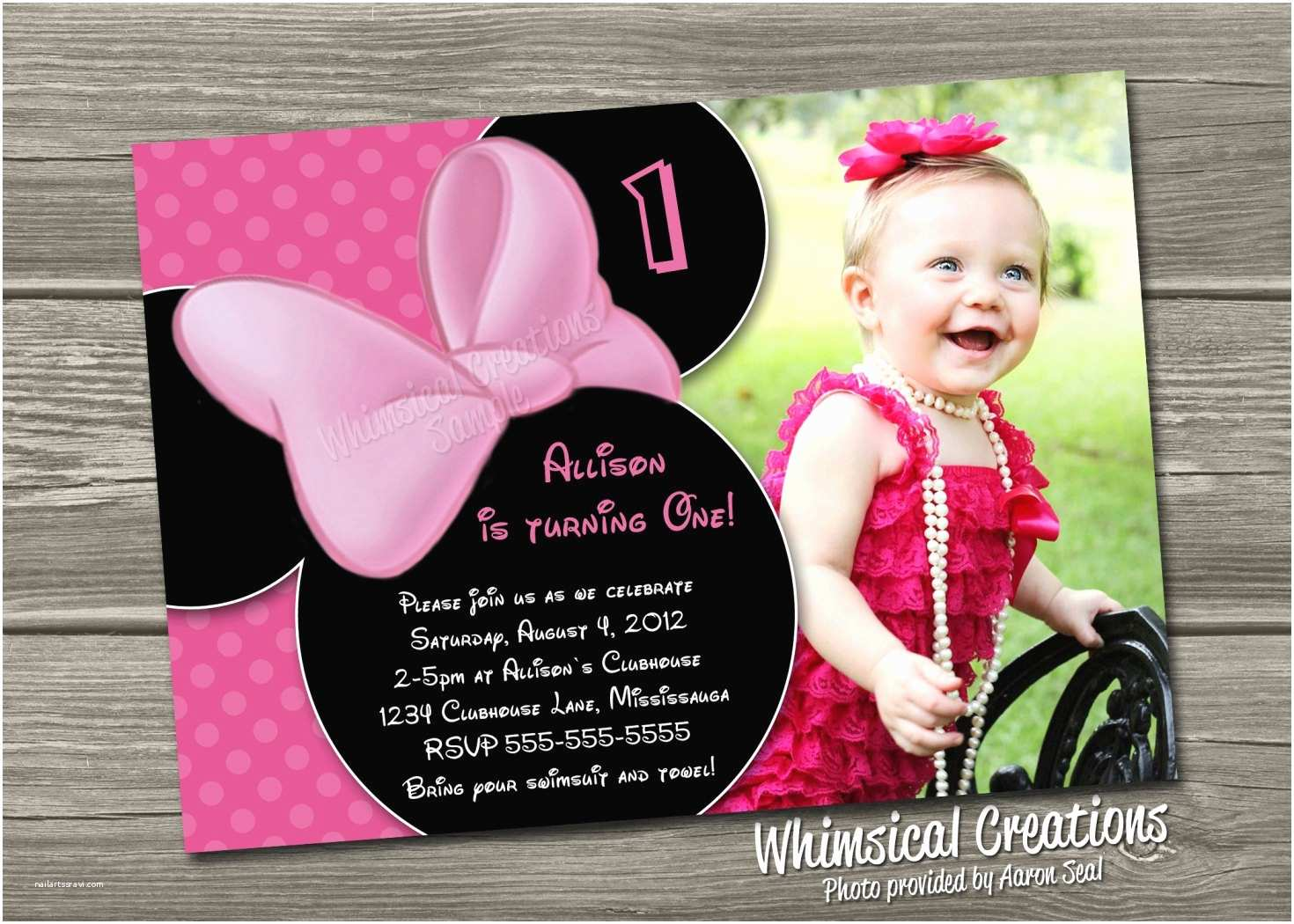 Digital Party Invitations Minnie Mouse Birthday Invitation Digital File I Design You