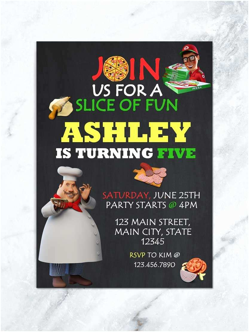 Digital Party Invitations Pizza Birthday Invitation Pizza Party Invitation Pizza