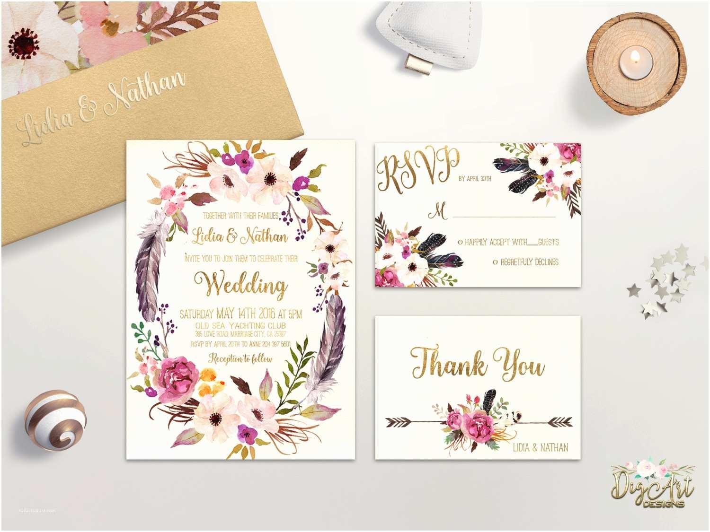 Digital Wedding Invitations Floral Wedding Invitation Printable Boho Wedding Invitation