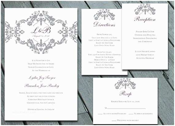 Digital Wedding Invitations Free Damask Wedding Invitation Suite with Rsvp Info Card