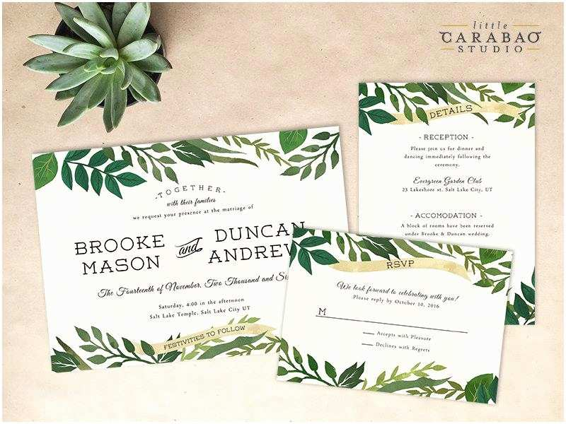 Digital Wedding Invitations Free Digital Wedding Invitation Set Printable Botanical Wedding