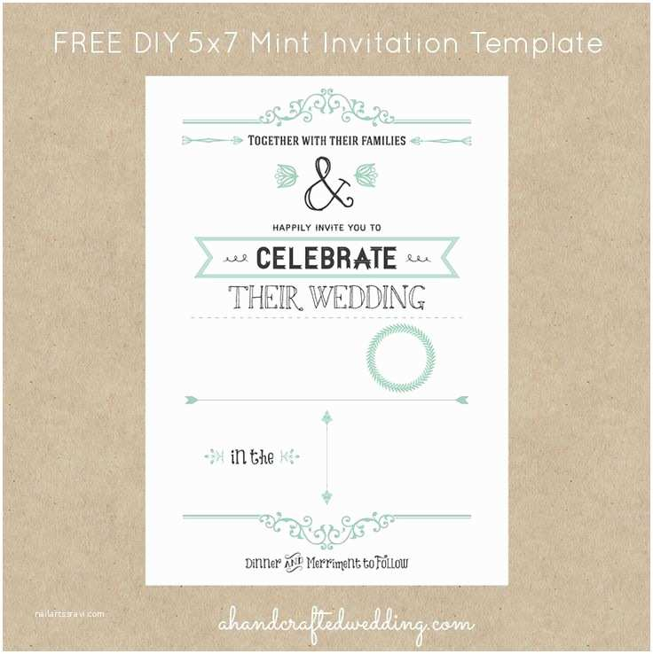 Digital Wedding Invitations Free Free Mint Vintage Style Invitation Template Digital