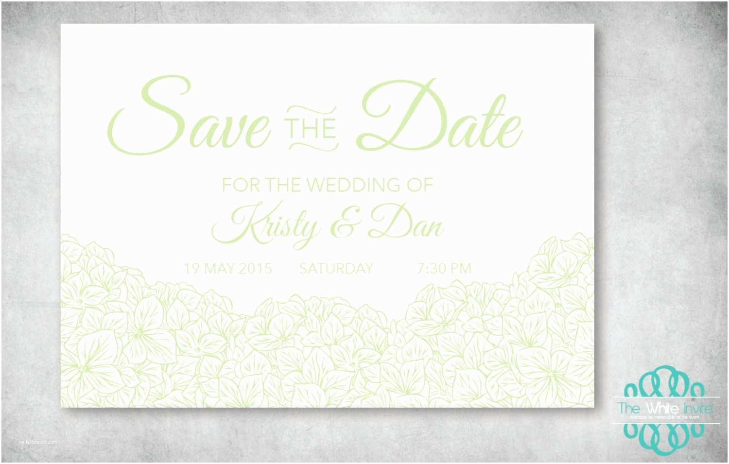 Digital Wedding Invitations Free Hydrangea Green Digital Wedding Save the Date – Diy