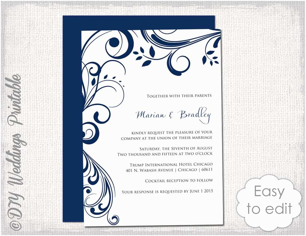 Digital Wedding Invitations Free Navy Wedding Invitation Template Scroll