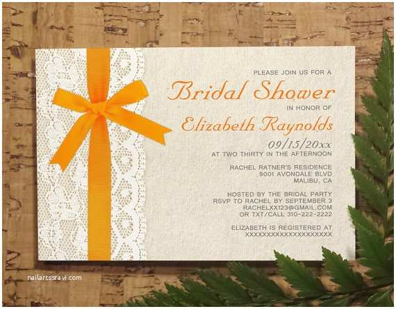 Digital Wedding Invitations Free orange Bow Lace Bridal Invitations Bridal Shower