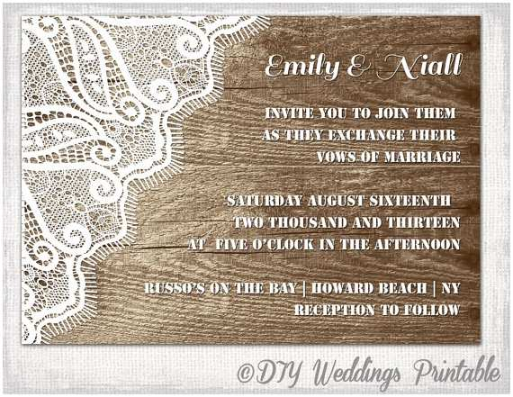 Digital Wedding Invitations Free Rustic Wedding Invitation Template Wood & Lace