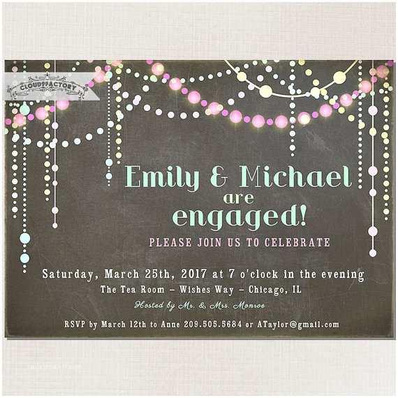 Digital Wedding Invitations Pastel Chalkboard Engagement Party Invitation Chalk Board