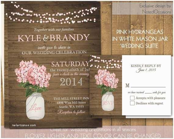 Digital Wedding Invitations Rustic Mason Jar Wedding Invitations Pink Hydrangeas In