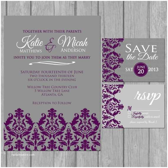 Digital Wedding Invitations Simple Wedding Invitation Modern Dark Purple Damask