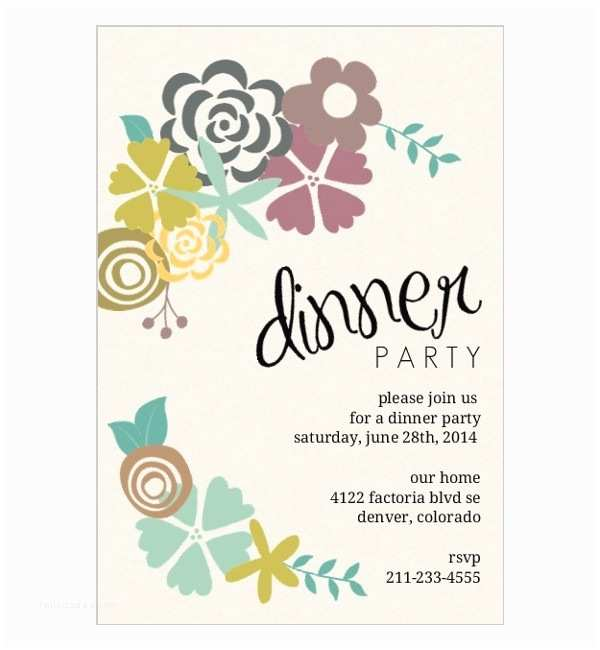Dinner Party Invitation Template Birthday Dinner Invitation Template