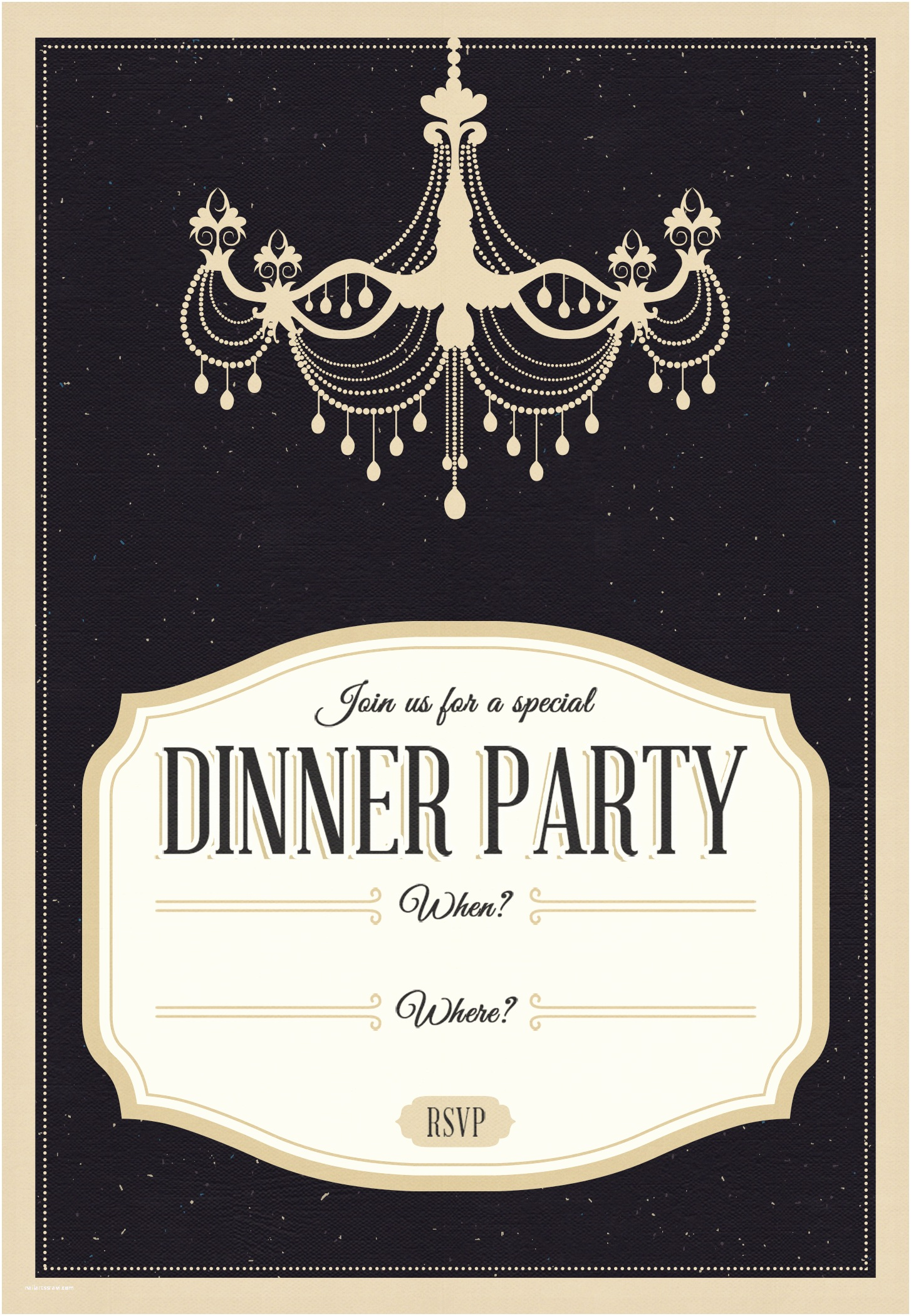 Dinner Party Invitation Template Classy Chandelier Free Printable Dinner Party Invitation