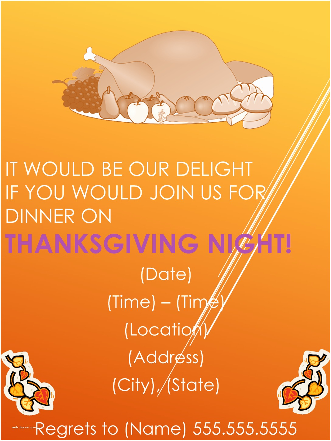 Dinner Party Invitation Template Thanksgiving Dinner Party Invitation Template