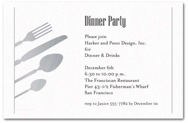 Dinner Party Invitation Wording Silver Utensils On Shimmery White Invitations