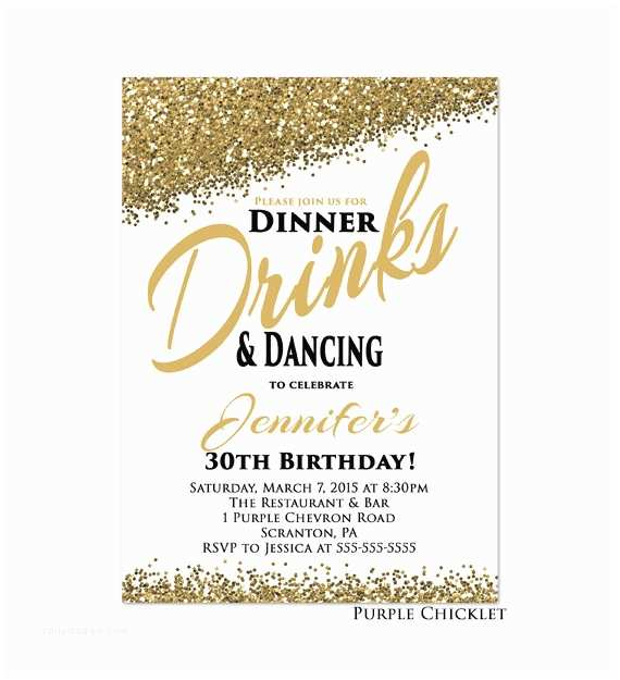 Dinner Party Invitations 30th Any Age Birthday Invitation Dinner Drinks by