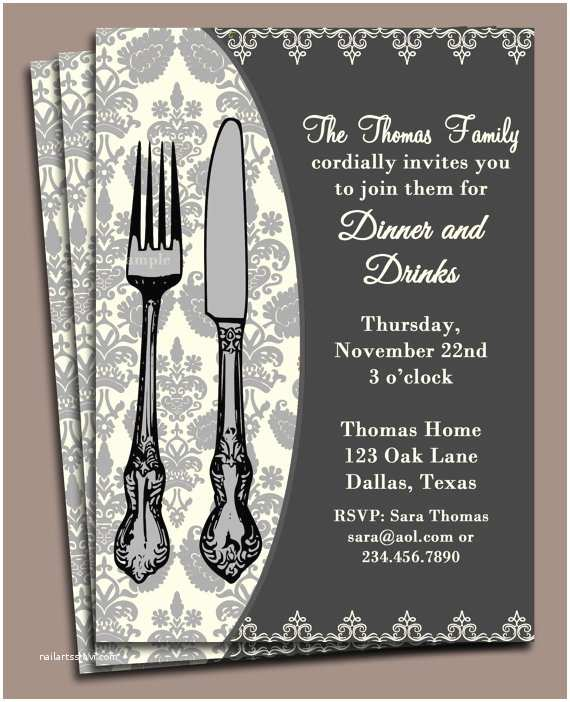 Dinner Party Invitations Dinner Invitation Printable or Printed with Free Shipping