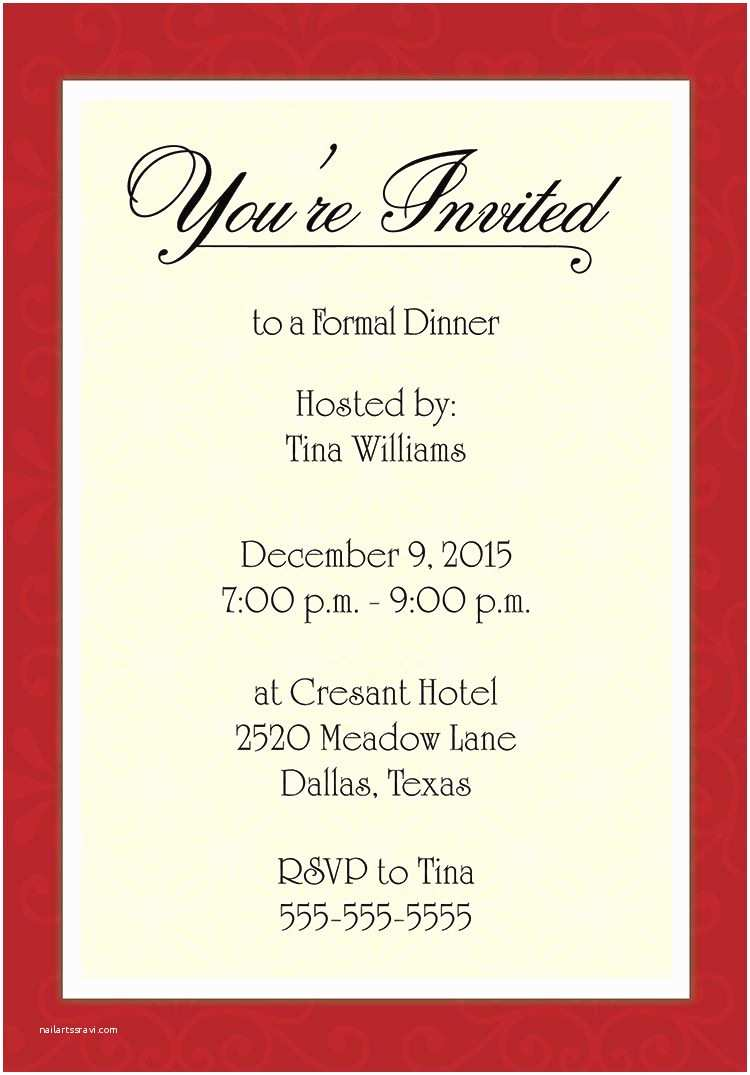Dinner Party Invitations for Corporate Dinner Invitation