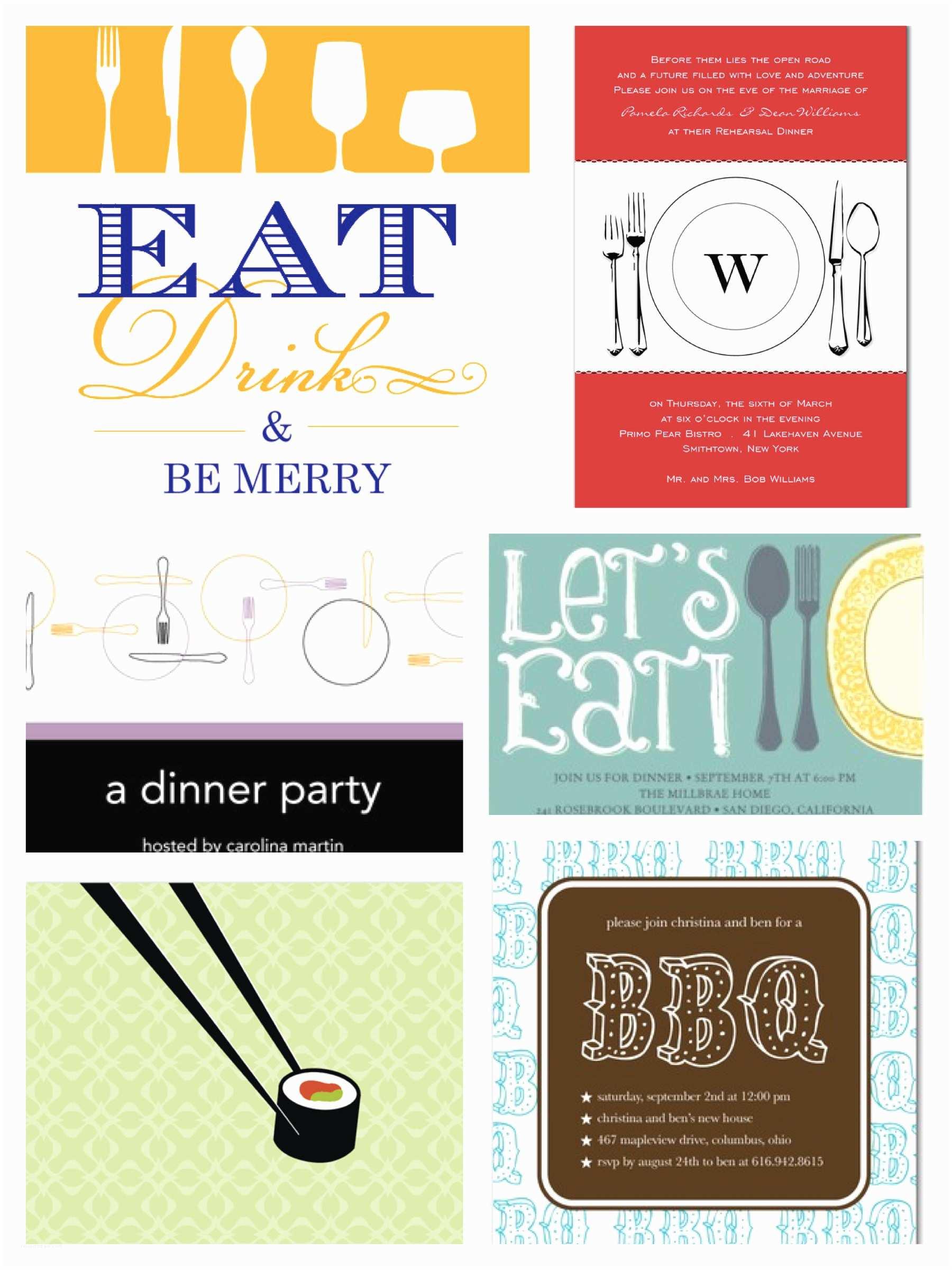 Dinner Party Invitations Rehearsal Dinner & Dinner Party Invitations