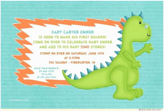 Dinosaur Baby Shower Invitations Baby Roar Dinosaur Shower Invitation Teal orange Green