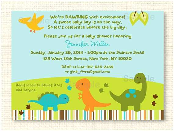 baby dinosaur printable baby shower invitation