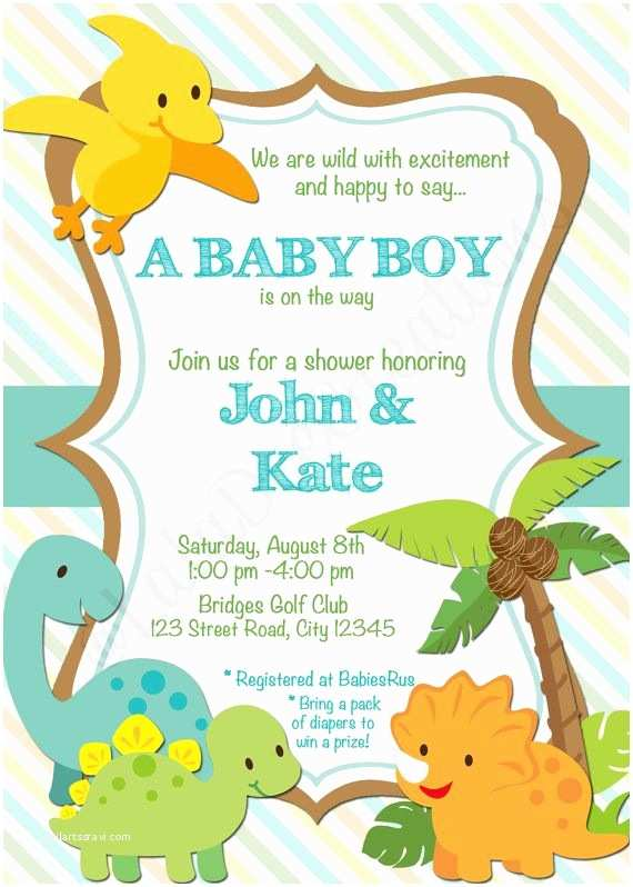 Dinosaur Baby Shower Invitations Dinosaur or Zoo Baby Shower Invitation 5x7 by