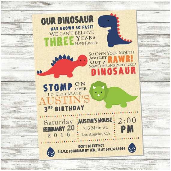 Dinosaur Birthday Party Invitations Dinosaur Birthday Invitation Dinosaur Party by