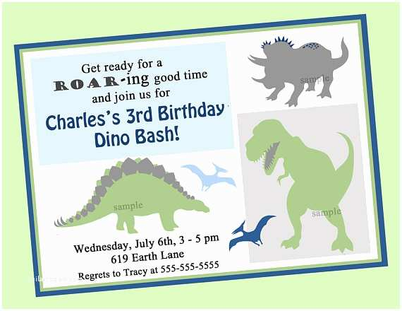 Dinosaur Birthday Party Invitations Invitation Printable Or Printed With Free