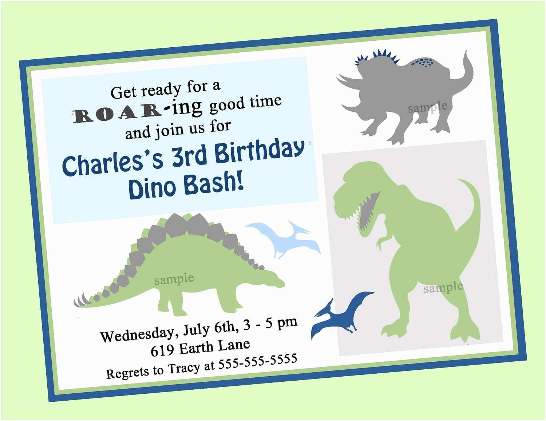 Dinosaur Birthday Party Invitations Dinosaur Birthday Invitation Printable or Printed with Free
