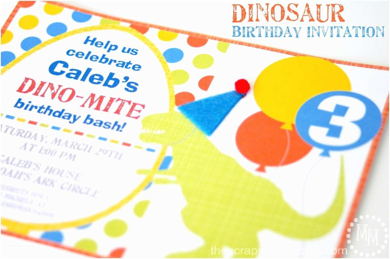 Dinosaur Birthday Party Invitations Dinosaur Birthday Party Invitation the Scrap Shoppe