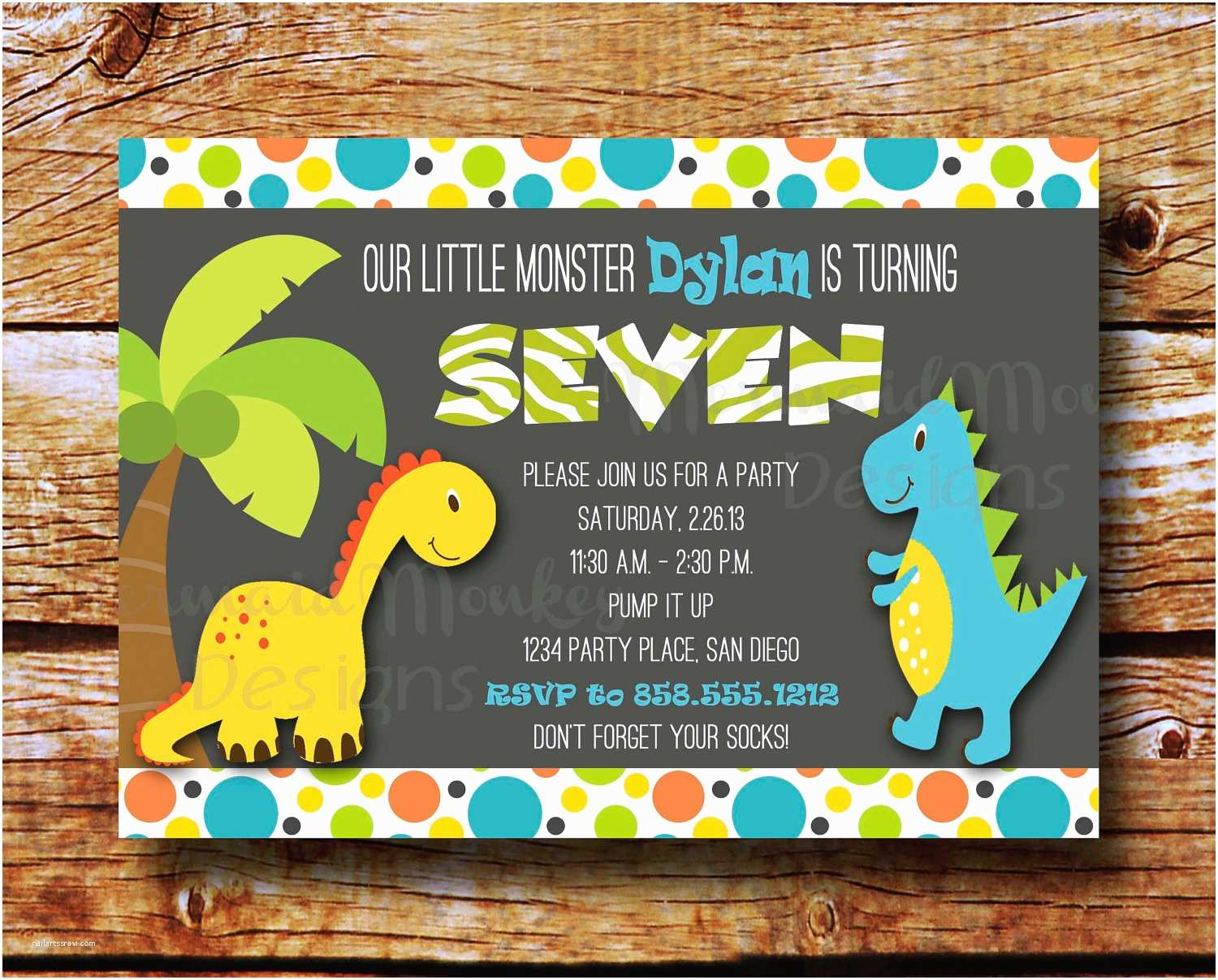 Dinosaur Birthday Party Invitations Dinosaur Invitation Birthday Party by Mermaidmonkeydesigns