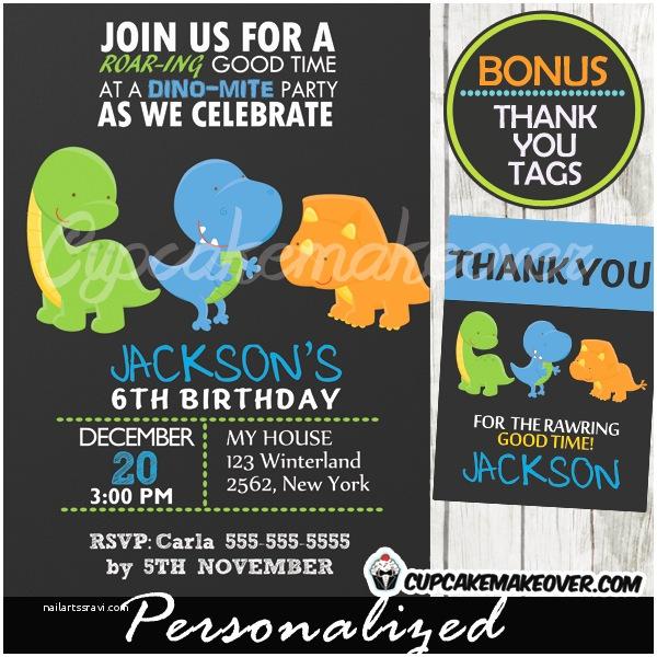 Dinosaur Birthday Party Invitations T Rex Chalkboard