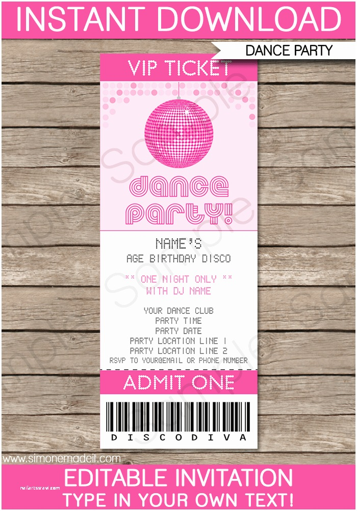 Disco Party Invitations 10 Best Of Dance Party Printable Blank Invitations
