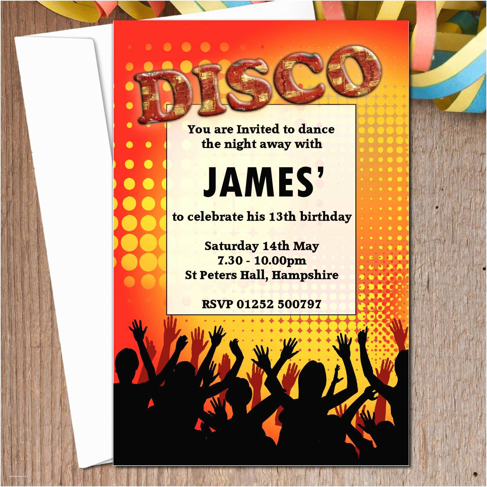 Disco Party Invitations 10 Personalised Disco Club Birthday Party Invitations N3