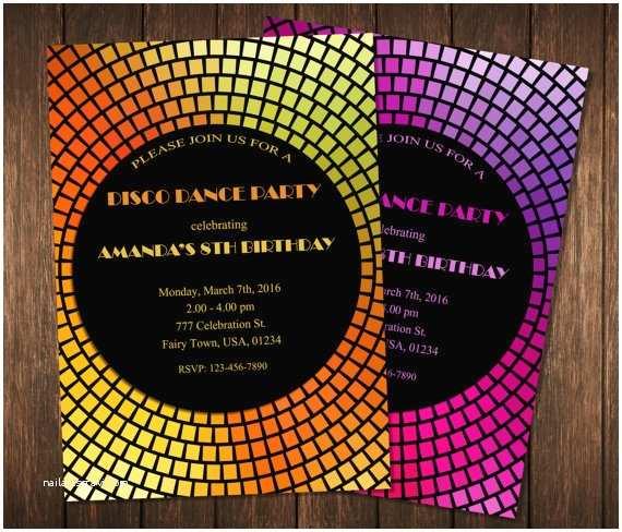 Disco Party Invitations Dance Party Invitation Disco Dance Party Invitations Disco