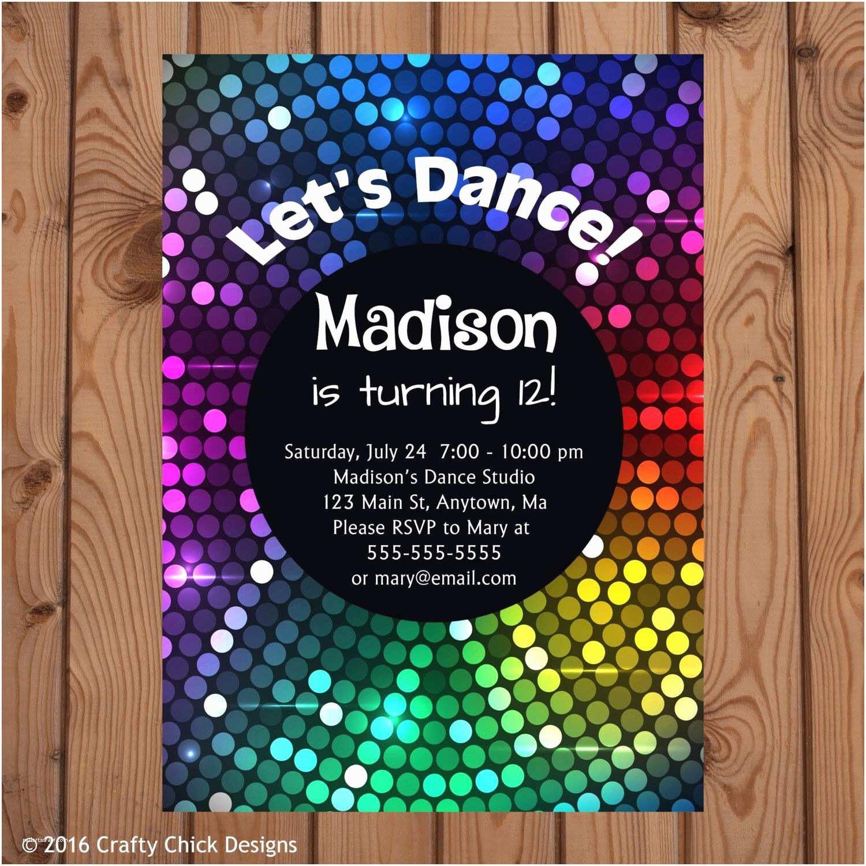 Disco Party Invitations Dance Party Invitations Dance Birthday Invitation