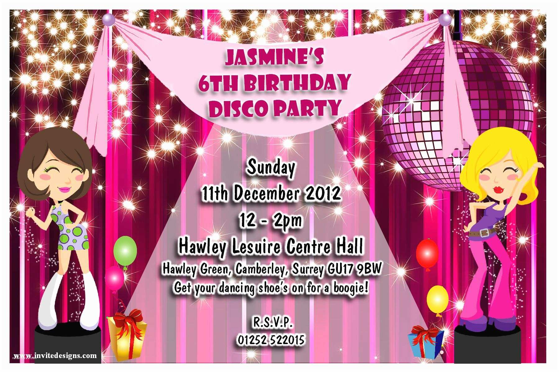 Disco Party Invitations Dance Party Invitations