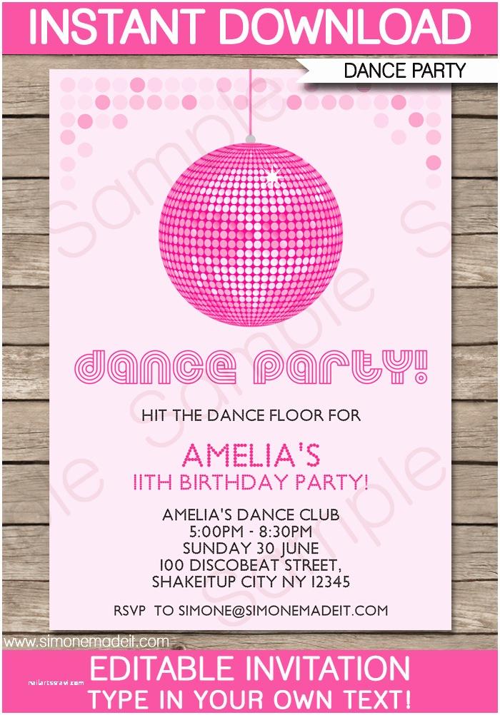 Disco Party Invitations Dance Party Invitations Template