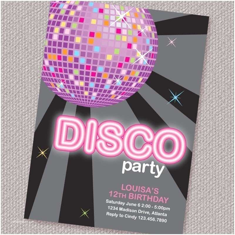 Disco Party Invitations Disco Ball Birthday Party Invitation Personalized Printable
