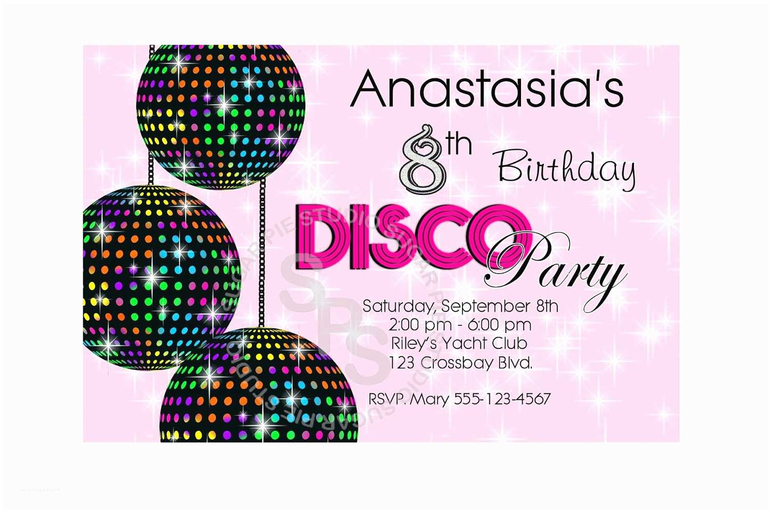 Disco Party Invitations Disco Ball Dance 70s Party Your Photo Girl Boy Birthday Party
