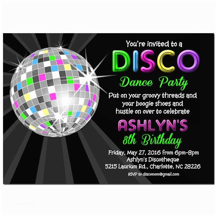 Disco Party Invitations Disco Ball Neon Invitation Printable or Printed with Free