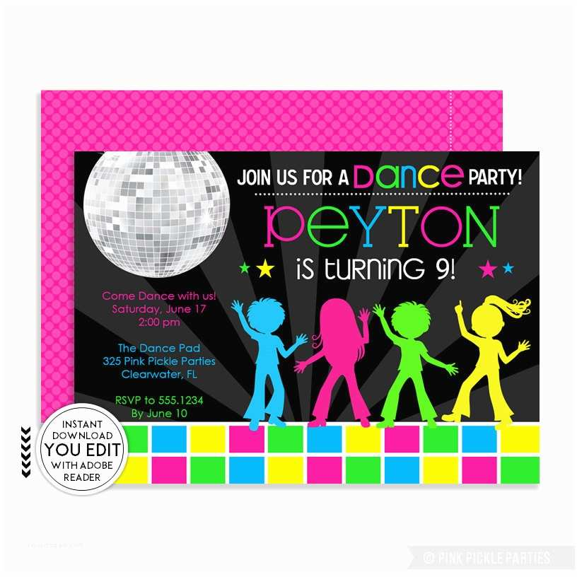 Disco Party Invitations Disco Invitations Dance Party Disco Party Invitations Dance