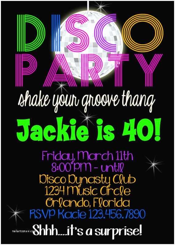 Disco Party Invitations Disco Party Birthday 5x7 Invitation Printable by Party