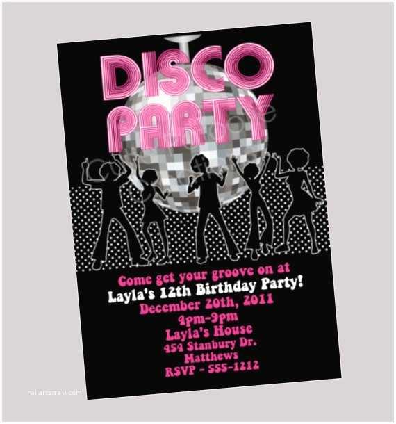 disco dance party invitation disco ball