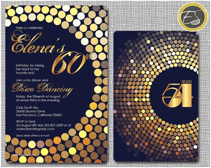 Disco Party Invitations Studio 54 Party Invitations