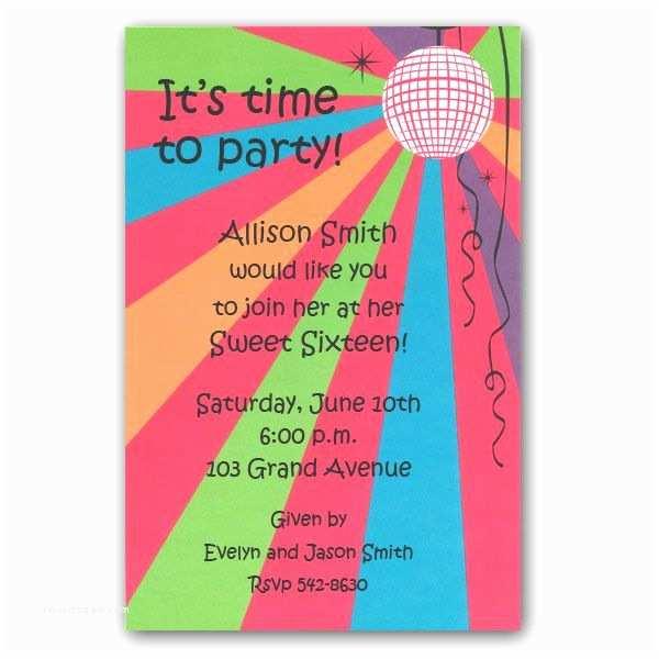 Disco Party Invitations Sweet 16 Disco Party Invitations