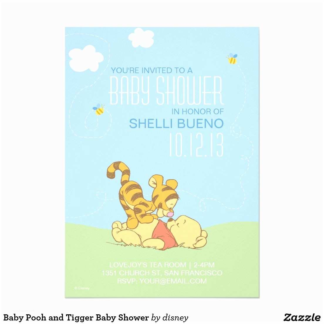Disney Baby Shower Invitations Baby Pooh and Tigger Baby Shower Card