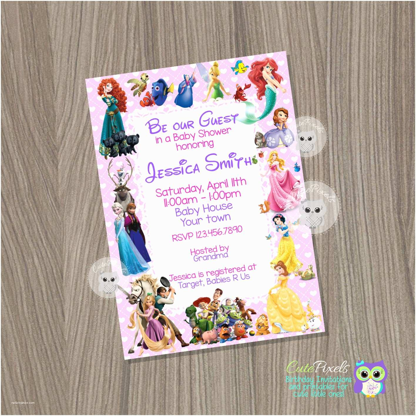 Disney Baby Shower Invitations Baby Shower Invitation for Girl Disney Baby Shower Baby Girl