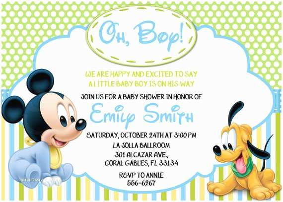 Disney Baby Shower Invitations Disney Baby Mickey Mouse Inspired Baby Shower or Birthday