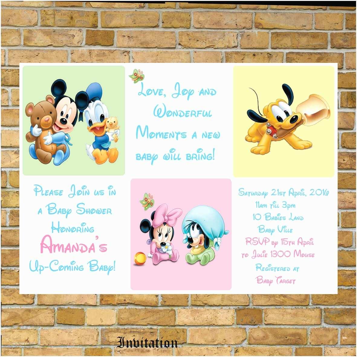 Disney Baby Shower Invitations Disney Baby Shower Ideas Baby Ideas