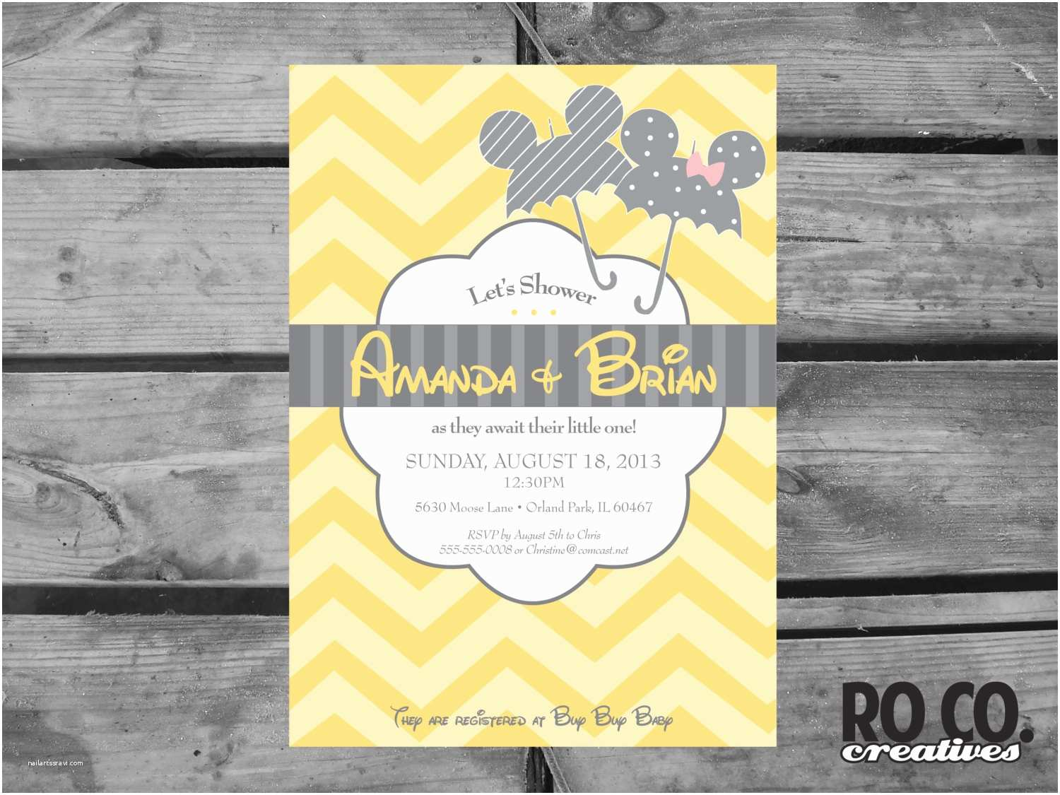 Disney Baby Shower Invitations Mickey and Minnie Disney Baby Shower Invitation by